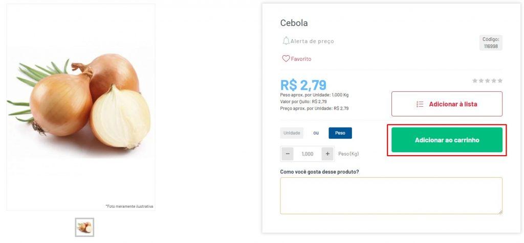 Print demonstrando como adicionar um produto ao carrinho na loja virtual do Cidade Canção.