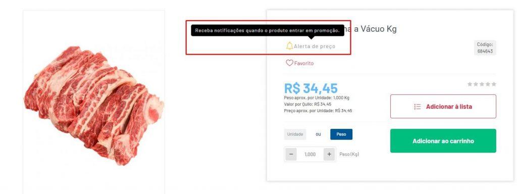 Página sinalizando como ligar o alerta de preços no site do Cidade Canção.