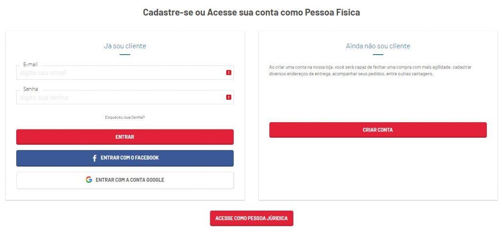Página para fazer uma conta para comprar no Cidade Canção online.