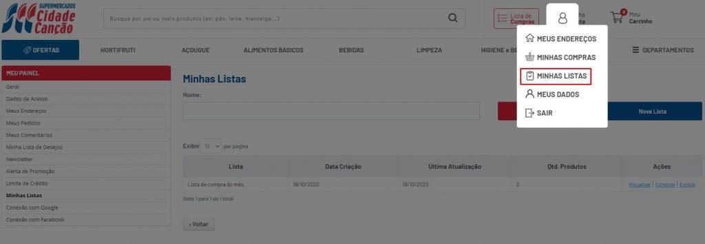 Página demonstrando como acessar as listas de compras feitas no site do Cidade Canção.