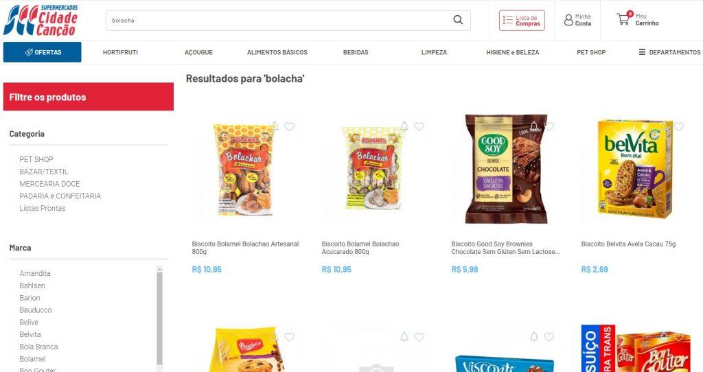 Página com resultados de busca dentro do site do Cidade Canção.