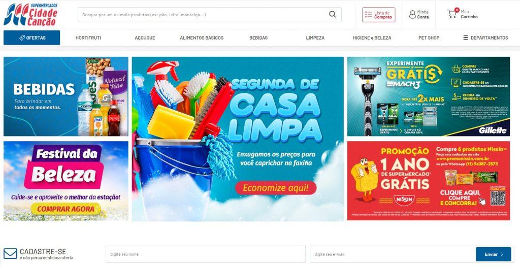 Página inicial da loja virtual do Cidade Canção.