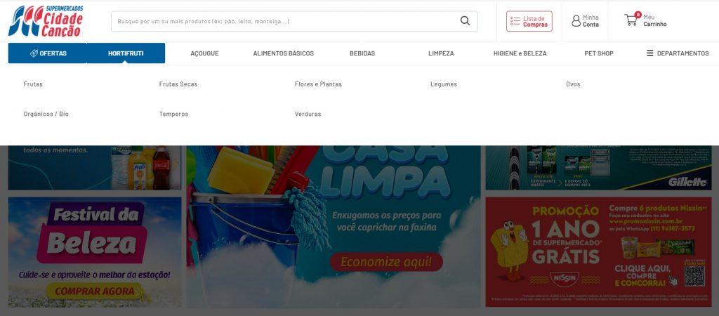 Print das categorias da loja online do Cidade Canção.