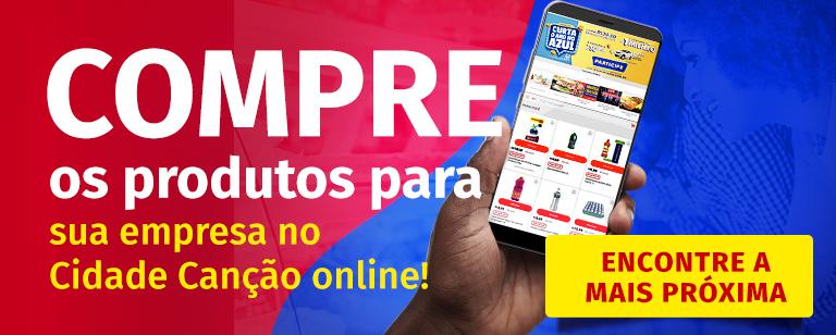 Banner para encontrar o Cidade Canção mais próximo, no qual você faz as compras corporativas online.