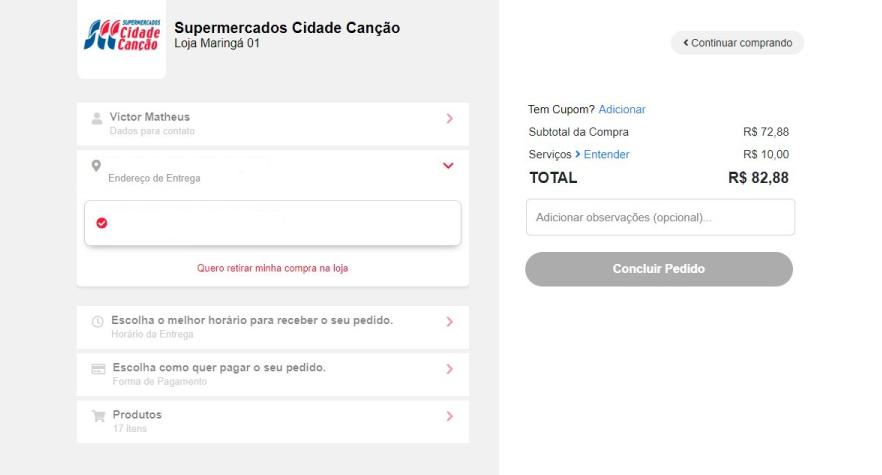 Página de conclusão de compra vista ao comprar legumes online no Cidade Canção.
