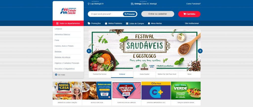 Página inicial do Cidade Canção, vista na hora de comprar legumes online.
