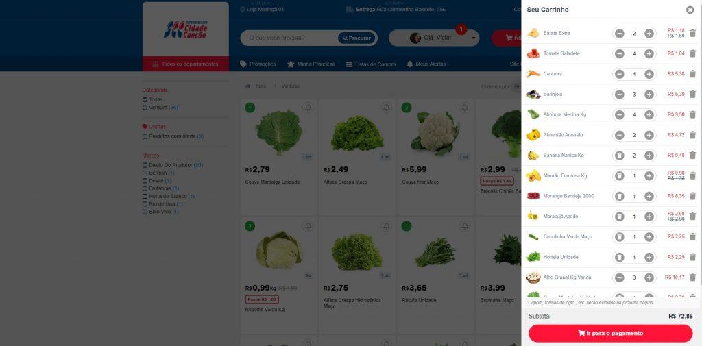 Página de carrinho, com todos os legumes selecionados para compra online.