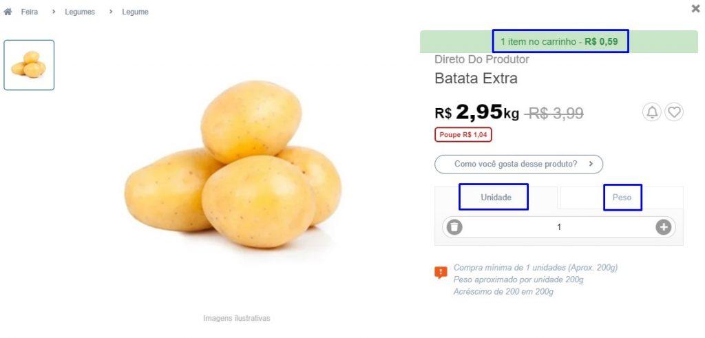Página de produto vista na hora de comprar legumes online. No exemplo, observa-se uma batata.